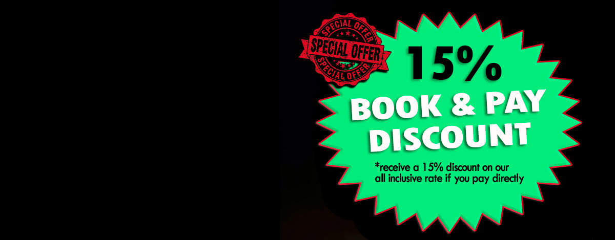 Book & Pay Special 15% Discount